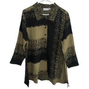 Habitat High Low Button Up Swing Tunic Blouse